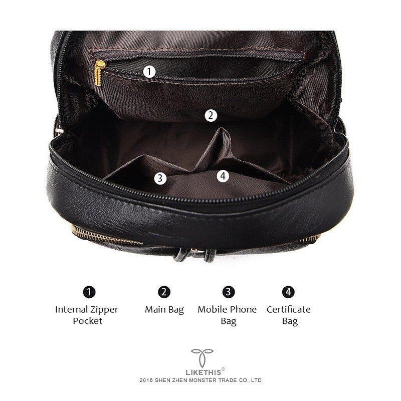 LIKETHIS Backpack In Women s Casual PU Leather Knapsack Travel Mochila Escolar Masculina Backpack Zainetto Donna LIKETHIS Backpack In Women's Casual PU Leather Knapsack Travel Mochila Escolar Masculina Backpack Zainetto Donna Lady Solid New