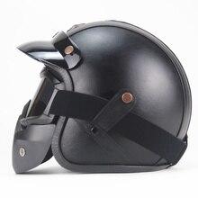 Free shipping PU Leather Helmets 3/4 Motorcycle Chopper Bike helmet