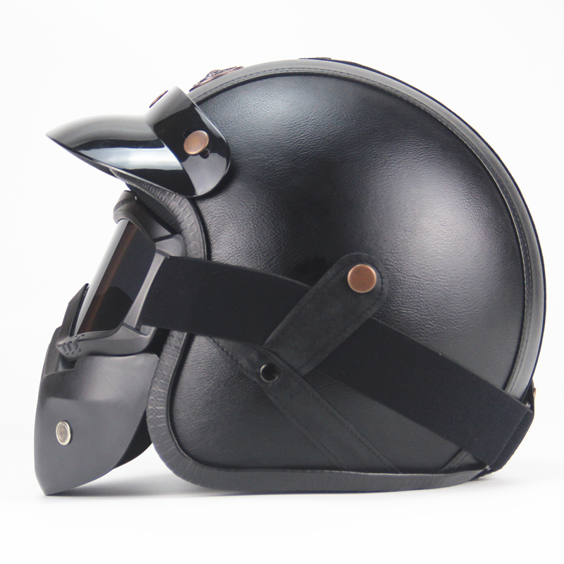 Free shipping PU Leather for Harley Helmets 3/4 Motorcycle Chopper Bike helmet open face vintage motorcycle helmetFree shipping PU Leather for Harley Helmets 3/4 Motorcycle Chopper Bike helmet open face vintage motorcycle helmet
