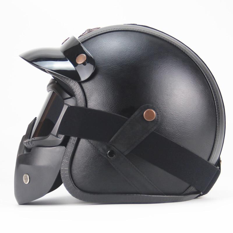 Livraison gratuite PU cuir casques 3/4 moto Chopper casque de vélo visage ouvert vintage moto casque