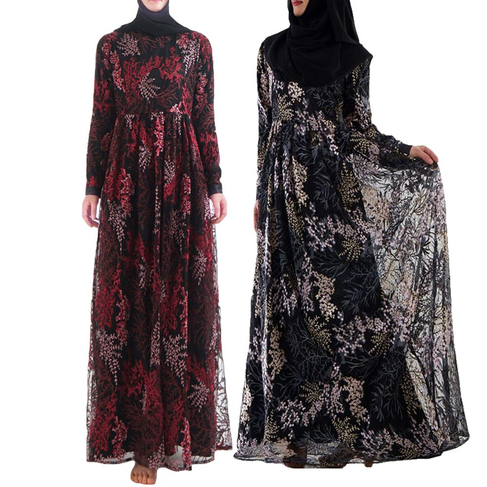 Embroidery Women Abaya Long Dress Muslim Arab Jilbab Maxi Robe Islamic Party Cocktail Slim Dubai Luxury