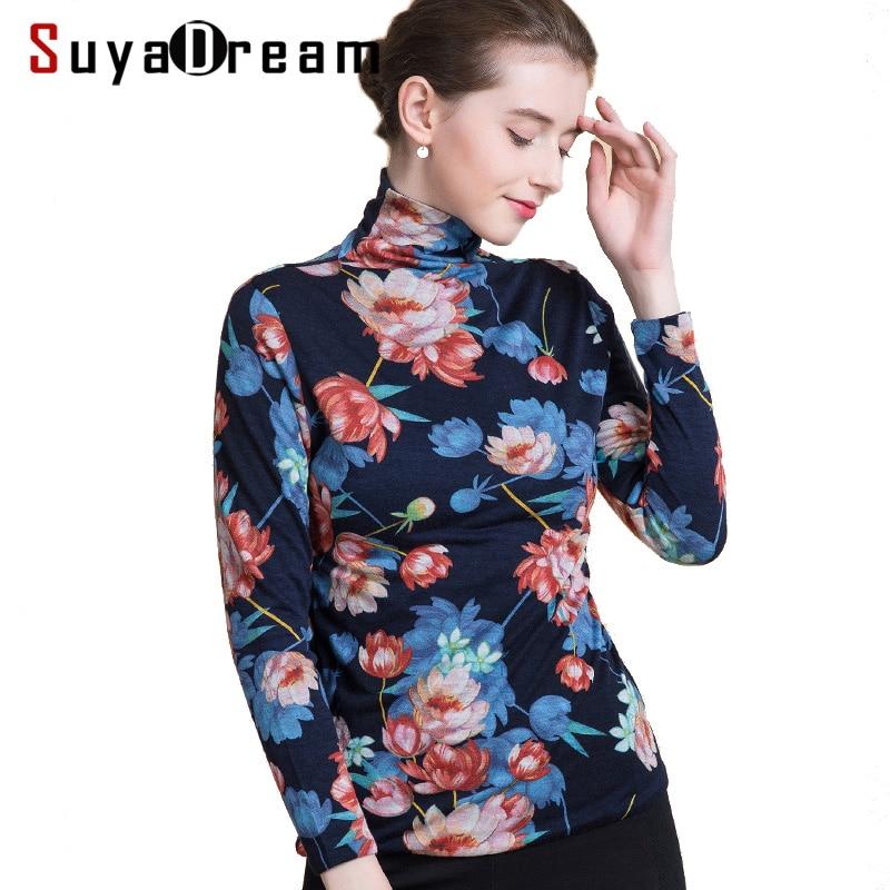 Pull en laine pour femmes 100% pull en laine imprimé à col roulé pour femmes 2018 automne hiver chemise à fond Floral