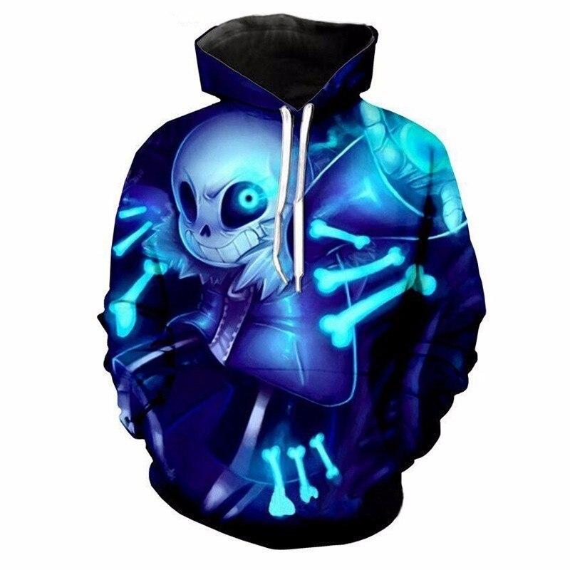 Adult Undertale Sans Cosplay Hoodies Women Men Ghost Fire Skull 3D Printed Hooded Hip Hop Pullover Autumn Winter Warm Sweatshirt