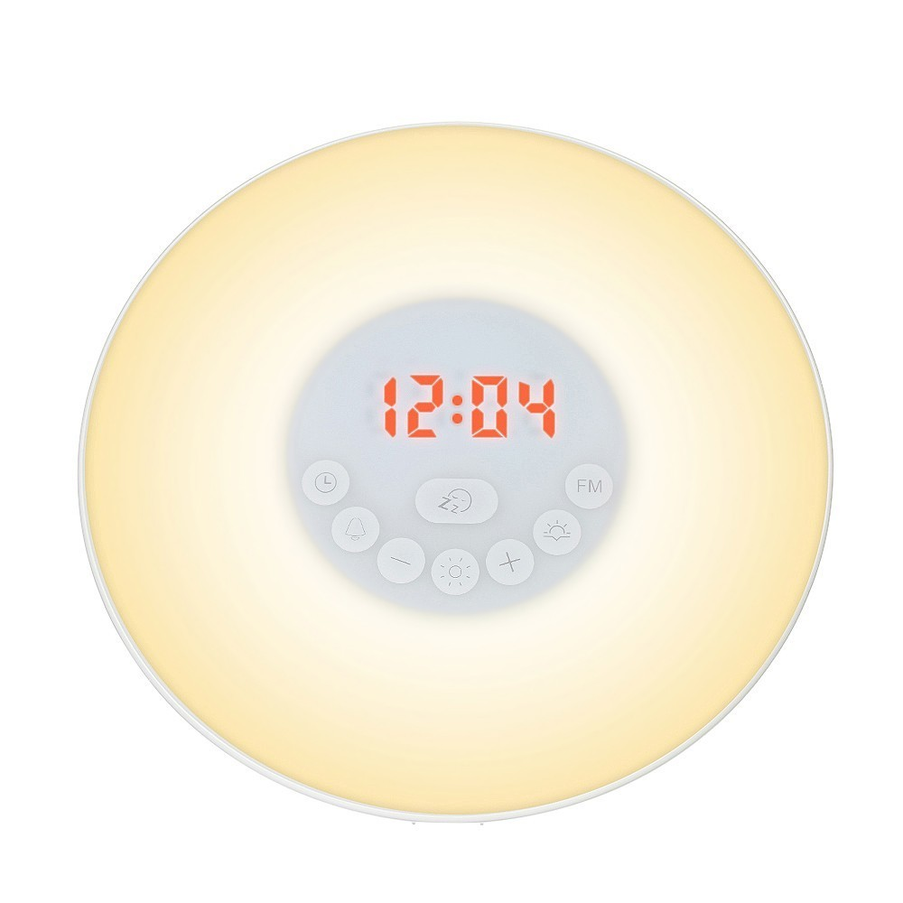 Novel LED Bedside Alarm Clock Lamp With FM Radio 7 Colors Changing Digital Clock Touch Sensor Wake Up Light Alarm Clock For Gift