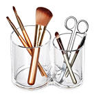 Clear Acrylic Cotton Ball Holder Qtips Holder Makeup Brush Pads Swab Organizer Storage Box Round Q-tip Container Cosmetic Case