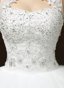 Image 5 - Бальное платье Свадебные платья с аппликацией без рукавов с высоким воротником Свадебные платья на шнуровке с бисером элегантные кружевные свадебные платья Robe De Mariee