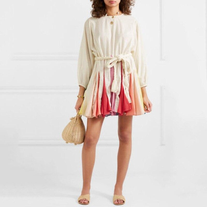 DEAT 2019 new spring and summer fashion women lantern sleeves high waist colurful dress sweet court