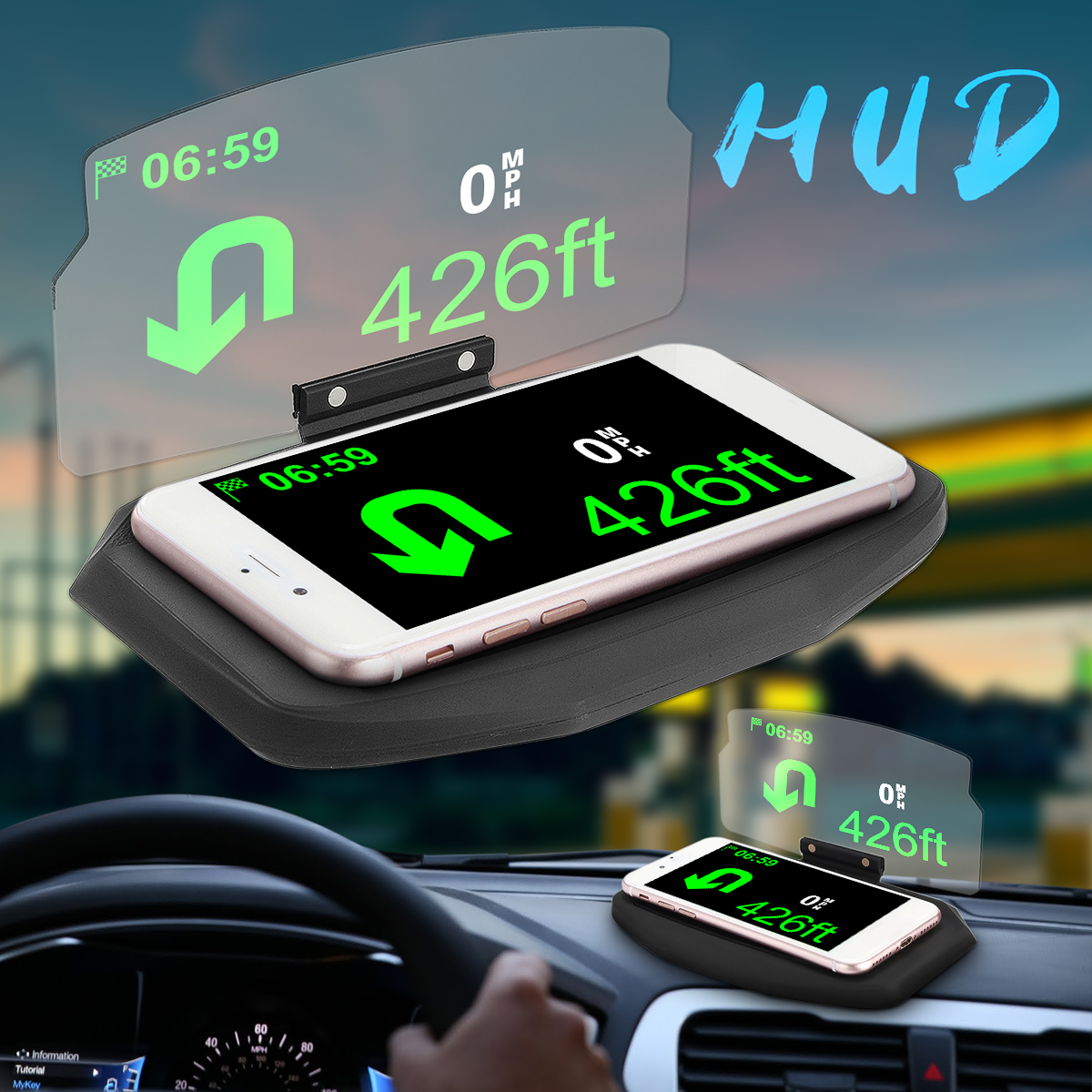 Car Windscreen Projector HUD Head Up Display Universal Mobile Phone Holder Multifunction 6.5 Inch For iPhone For Samsung GPS new arrival smart cell phone holder mount head up display car hud phone gps navigation wireless charger stand for iphone 8 plus