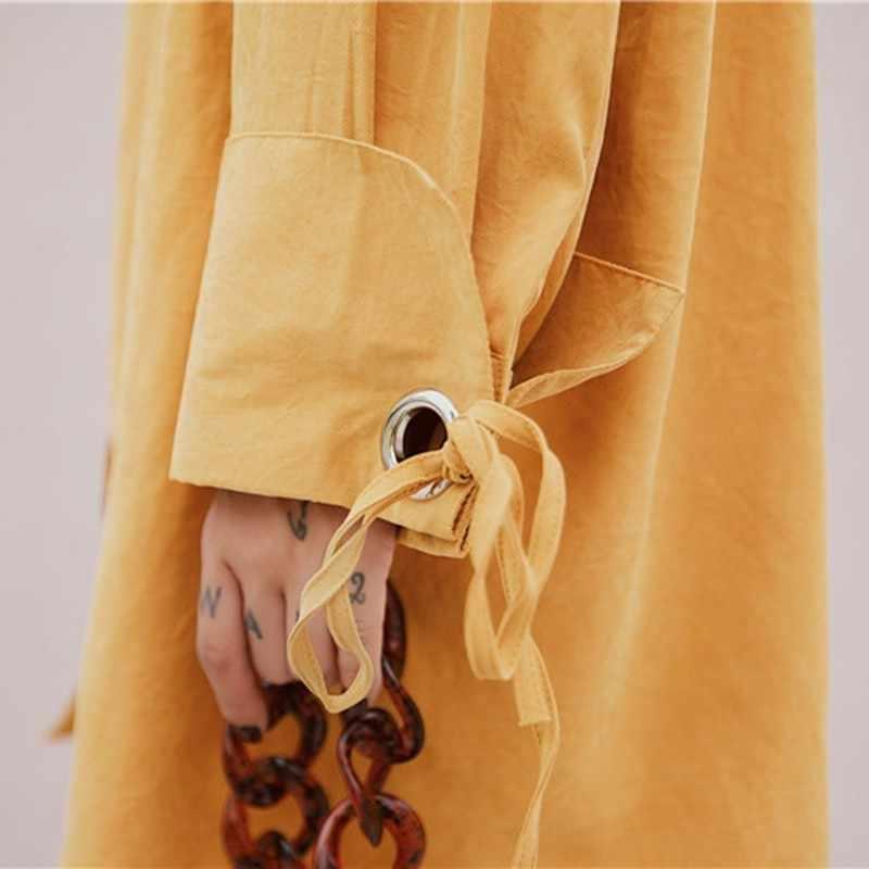 TWOTWINSTYLE Casual Camisas de mujer Blusa de manga larga de encaje de gran tamaño Tops largos amarillos ropa de moda femenina 2019 otoño