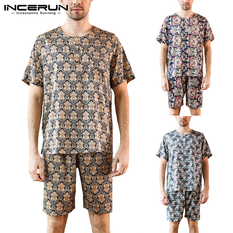 INCERUN 2019 Print Men Pajamas Set Sleepwear Suit Loose Short Sleeve Leisure Nightgown Men Pyjamas Set Homewear Summer Plus Size