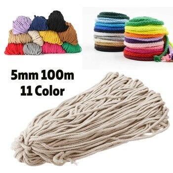 f180f97a9e9bc Cor 100 M 5 11mm 109 Metros de Corda de Algodão Trançado Macrame Cord DIY  Handmade Artesanato Tecido Fio Trançado de Corda home Textile Decor