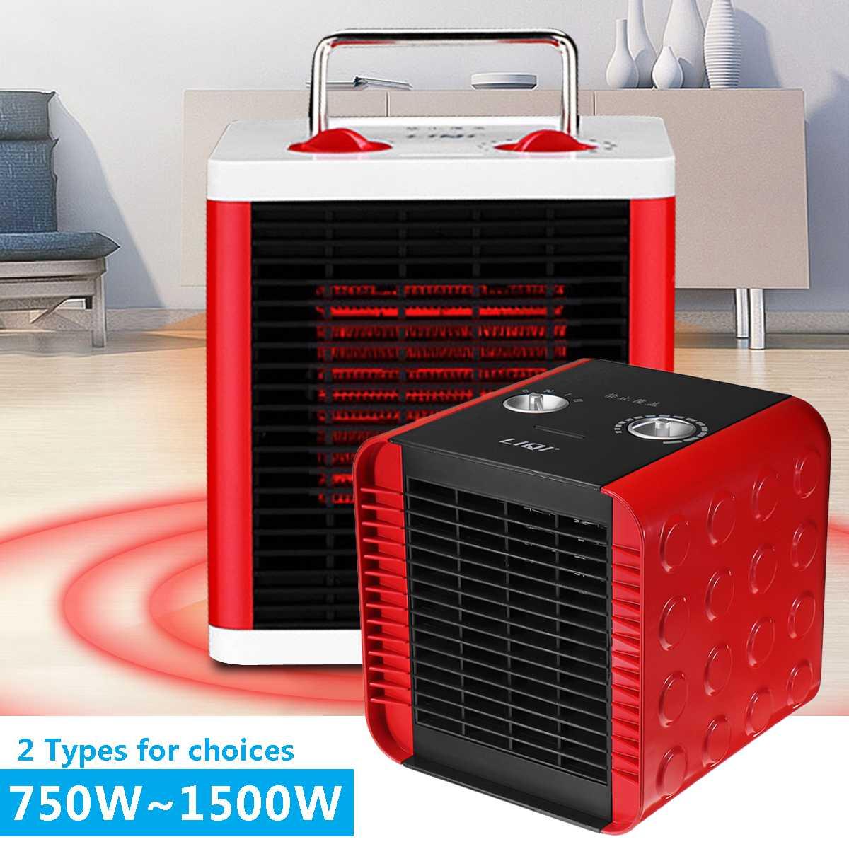 Réchauffeur électrique portatif de chauffage de PTC 750 W/1500 W chaud d'air chaud de bureau à la maison Mini Machine froide de radiateur réglable rapidement