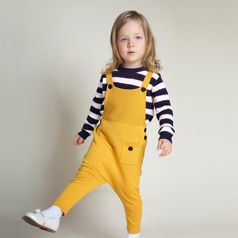 Baby Boy Girls Knitted Overalls 2019 Spring Children Jumpsuit Kids Clothes Toddler Pants Romper Salopette Enfant Fille Dungarees spring outfits for kids