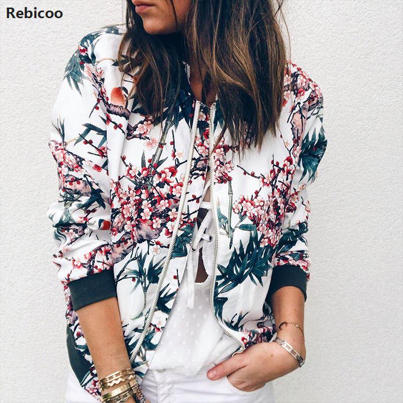 female   basic     jacket   coat 90s bomber   jacket   women female cape autumn flower ladies coats 2019 korean fashion Rebicoo50
