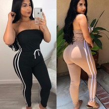 Striped Side Spliced High 2 piece set womenWaist Skinny Long Jumpsuits 2019 Lady Strapless Sleeveless Drawstring Bodycon Rompers drawstring spliced camo jogger pants