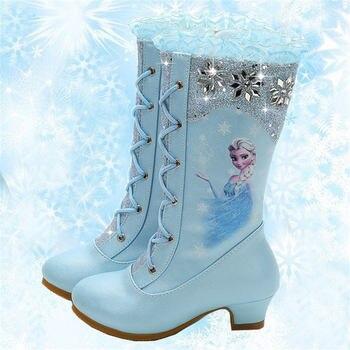 Disney Herbst Und Winter Neue Hohe Stiefel Mädchen Prinzessin mit hohen absätzen Kinder Pailletten Schnee Stiefel Gefrorene Stiefel