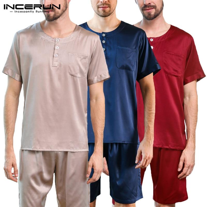INCERUN Suit Pajamas-Set Homewear Short-Sleeve Elastic-Waist-Shorts Satin Silk Solid