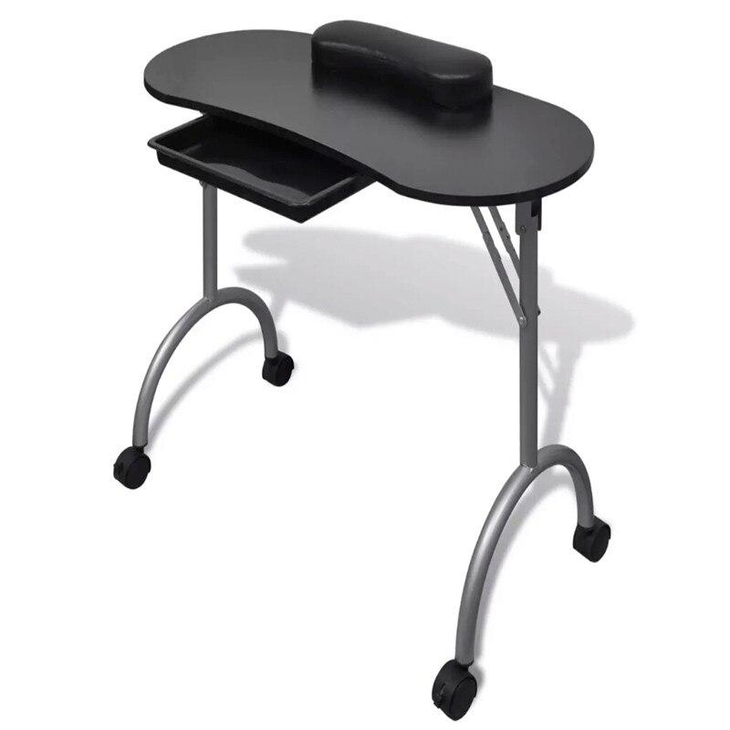 Черный складной столик для маникюра с колесиками с 4 запираемыми колесами обеспечивают мобильность и легкое позиционирование подходит для ...