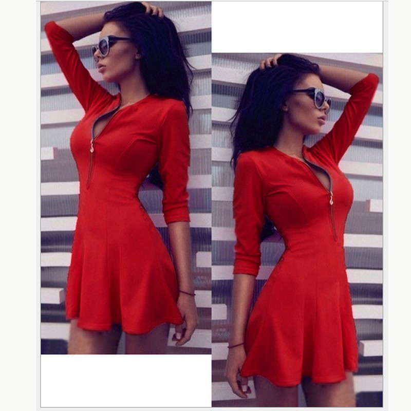 2019New Sexy V-Neck Zippers Solid color Mini Dress Women Fashio A-line Seven-quarter sleeve Fashion Party Dress Sexy Dress