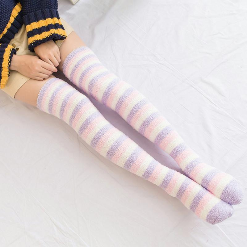 Japanese Girl Cute Striped Modeling Knee Socks Striped Cute Lovely Kawaii Cozy Long Thigh High Socks Thickened Winter Warm Sock