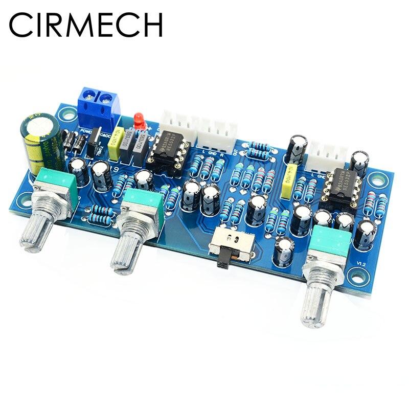 Cirmech amplificador subwoofer de 2.1 canais, pré-amplificador com filtro de passagem baixa ne5532