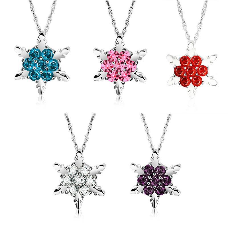 Silver Plated Snowflake Shape Pendant Full Rhinestone Pendant Necklace Fashion Women Jewelry Chic Christmas Gift To Girlfriend