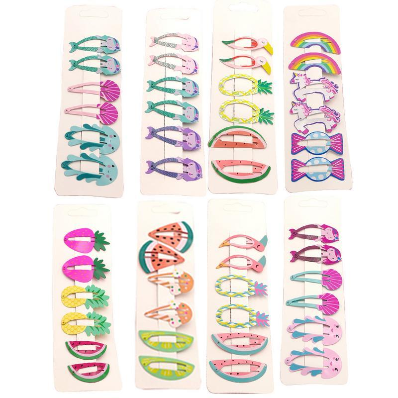 6pcs/set Snap Hair Clips Cute Clip Pins Fruit Animal Hairpins Color Metal Barrette For Baby Children Girls Hair Barrettes