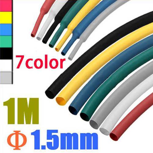 1 м 1,5 мм 7 видов цветов 2:1 Полиолефиновый термоусадочный трубки для мотоцикла кабель провод рукава полиолефиновые трубки обмотка для проводов, кабелей изоляции