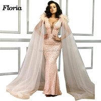 Moroccan Kaftan Arabic Pink Beaded Evening Dresses For Wedding 2019 Dubai Islamic Feathers Prom Dress Party Gowns Robe De Soiree