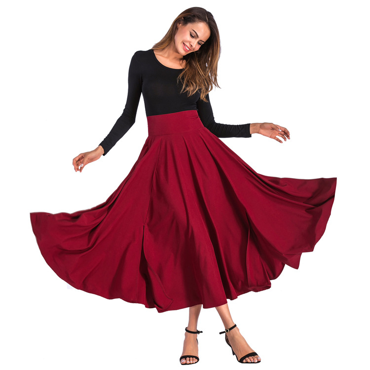 2019   Women's Skirt Big Swing Skirt Elegant Solid Skirt With Bow Invisible Pocket Black Colors   Plus Size Women Skirt