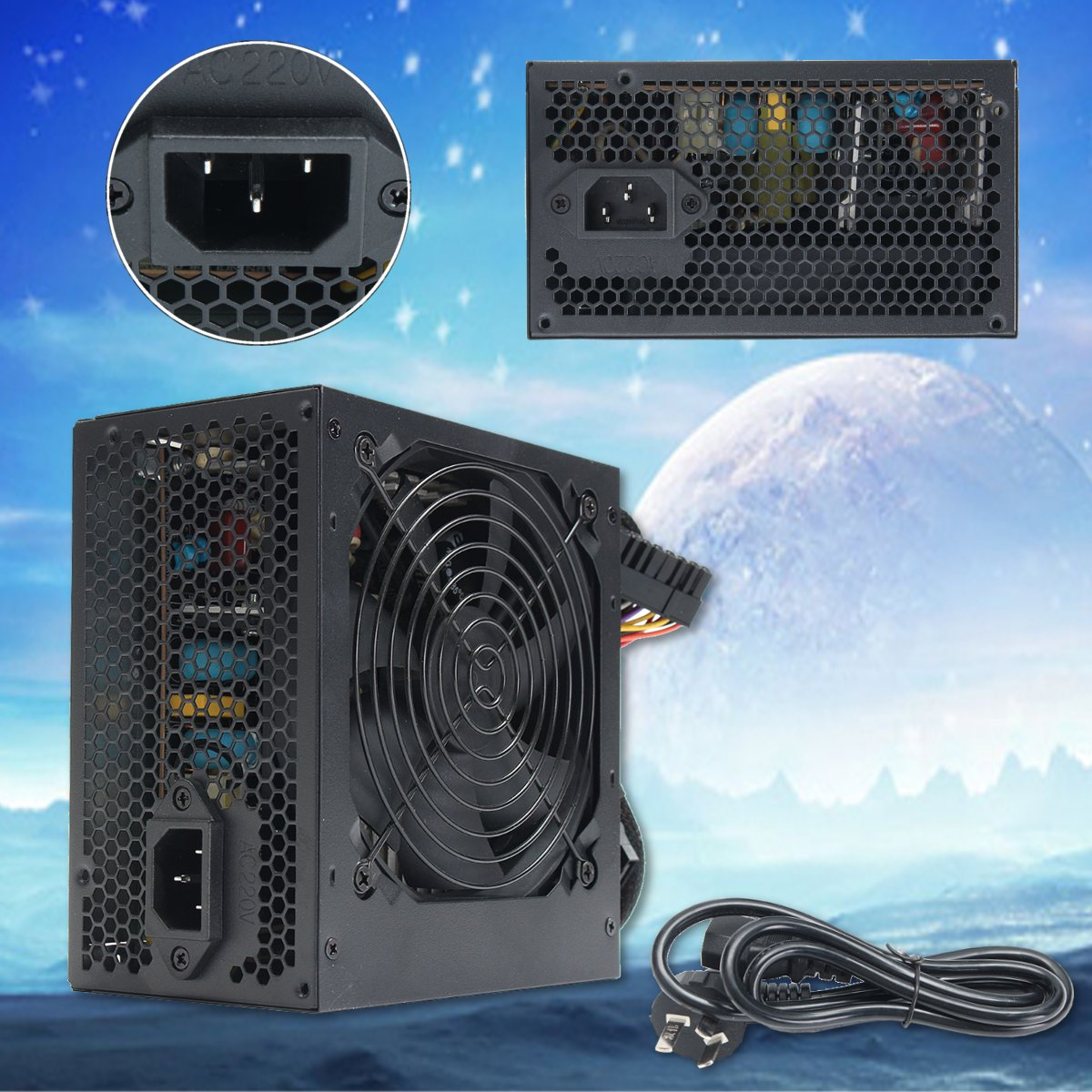 350W 650W Peak- PSU ATX 12V Gaming PC Power Supply 24Pin / Molex / Sata 12CM Fan Computer Power Supply For BTC