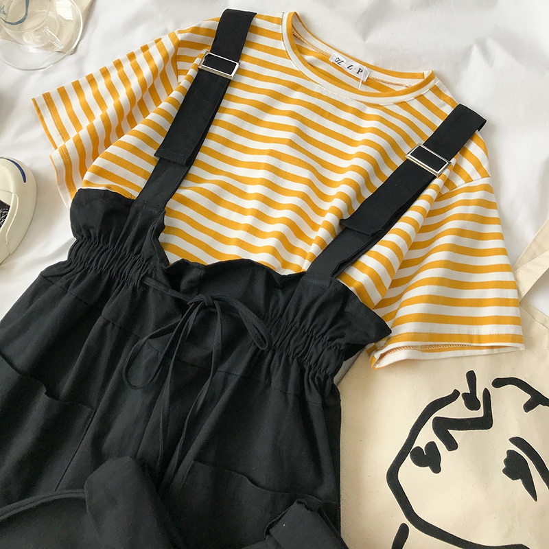 Mooirue Summer Pants Set Women Striped T-shirt + Fashion Overall White Khaki Pants Outfits For Women Casual 2 Pieces Set