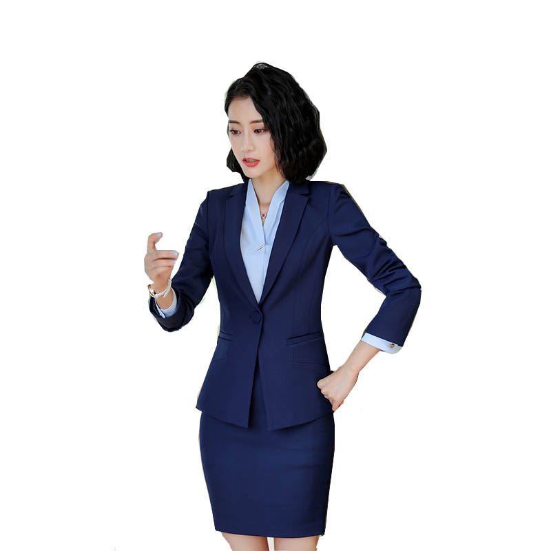 7ed1e6fd275f5 US $12.37 20% OFF|Women Formal Suit Blazer+Elegant Skirt 2 Pieces Suit  Office Uniform Designs Career Workwear Female Clothes Set-in Skirt Suits  from ...