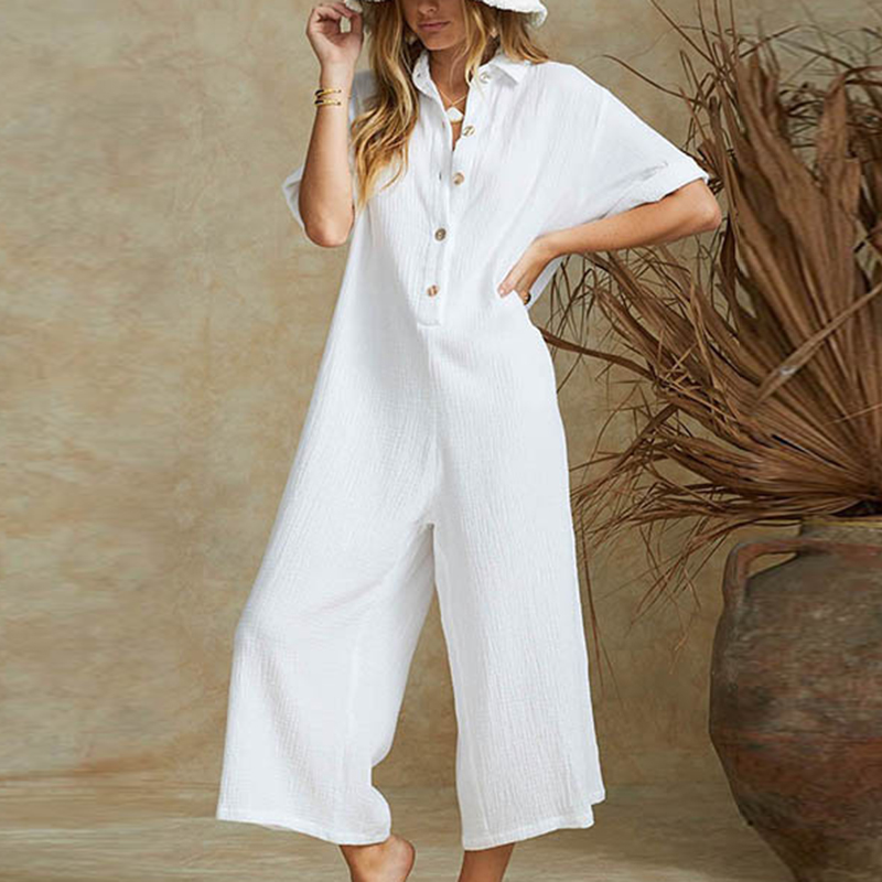 Women Jumpsuit Cotton Linen Casual Sexy Shorts Sleeves Button Down V Neck Romper Ladies Wide Leg Long Jumpsuits