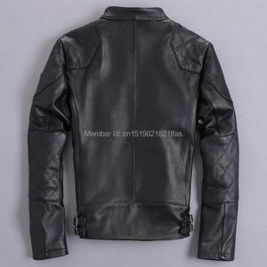 Image 3 - Bakham אמיתי עור זכר עור בגדי אופנוע בגדי עור מעיל דק צווארון עומד קצר עיצוב בקהאם עור