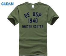 лучшая цена GILDAN Be Bop 1940 Jazz T-Shirt 100% Premium Cotton Charlie Parker John Coltrane  New Fashion Men'S T   Short Sleeve