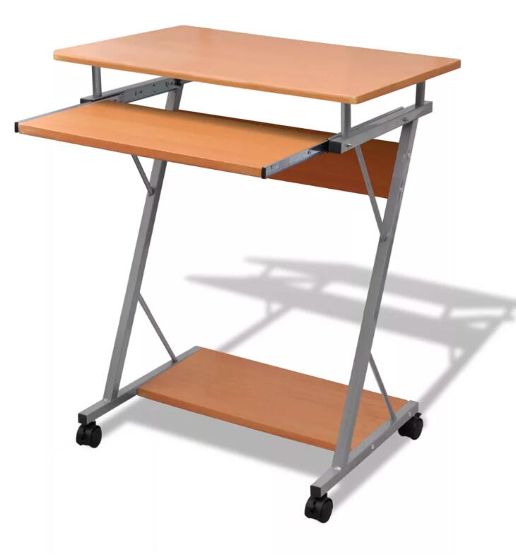 Vidaxl Computer Desk Pull Out Tray Brown Furniture Office Student Table Modern Brown Computer Desk For Laptop Desktop Desk