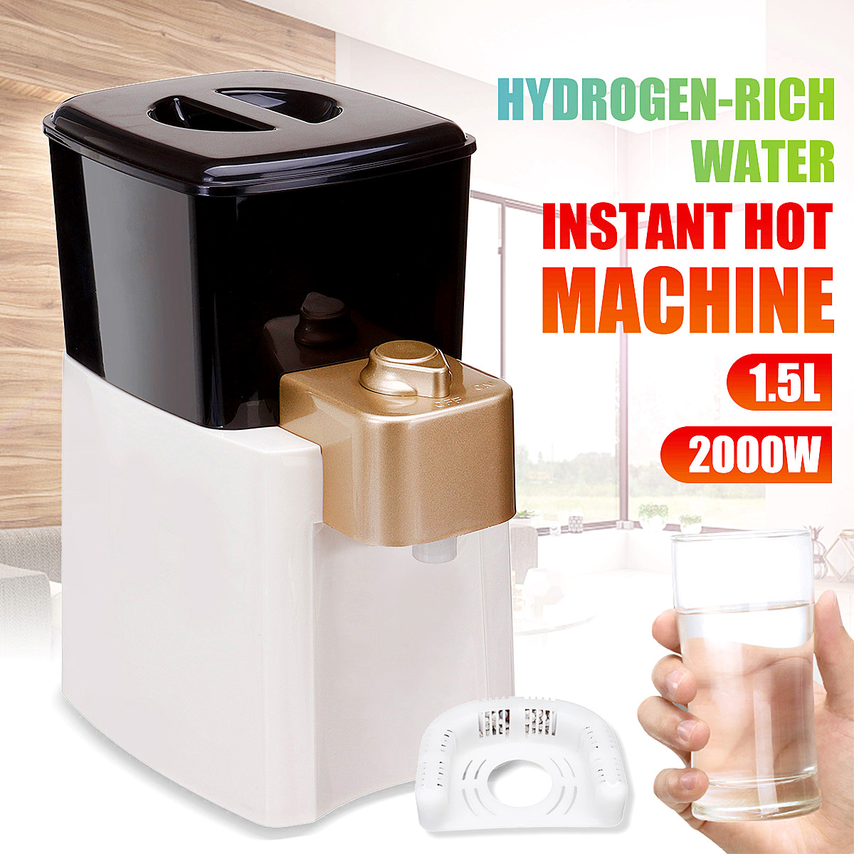 Newest 1.5L Desktops Household Hydrogen-rich RO Water Filter lonizer Purifier Dispenser Instant Hot Water Heating Heater BoilerNewest 1.5L Desktops Household Hydrogen-rich RO Water Filter lonizer Purifier Dispenser Instant Hot Water Heating Heater Boiler