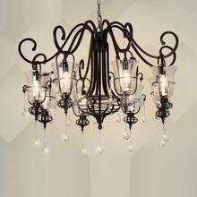 Crystal Chandelier Black Suspension Lamp retro light chandelier lamp lighting Edison Creative DIY Dining bedroom