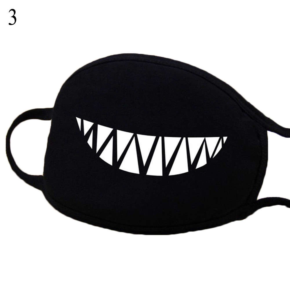 Unisex Cartoon Mask Funny Print Vampire Tooth Black Cotton Anti-Dust Anti-Fog Face Warm Mouth Mask Breathable Fashion Mask Black