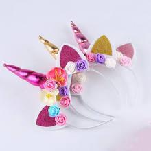 6b4182f45b85dc ONS Kids Meisje Baby Eenhoorn Hoorn Hoofdband Haarband Accessoires  Hoofddeksels Hoofd Wrap(China)