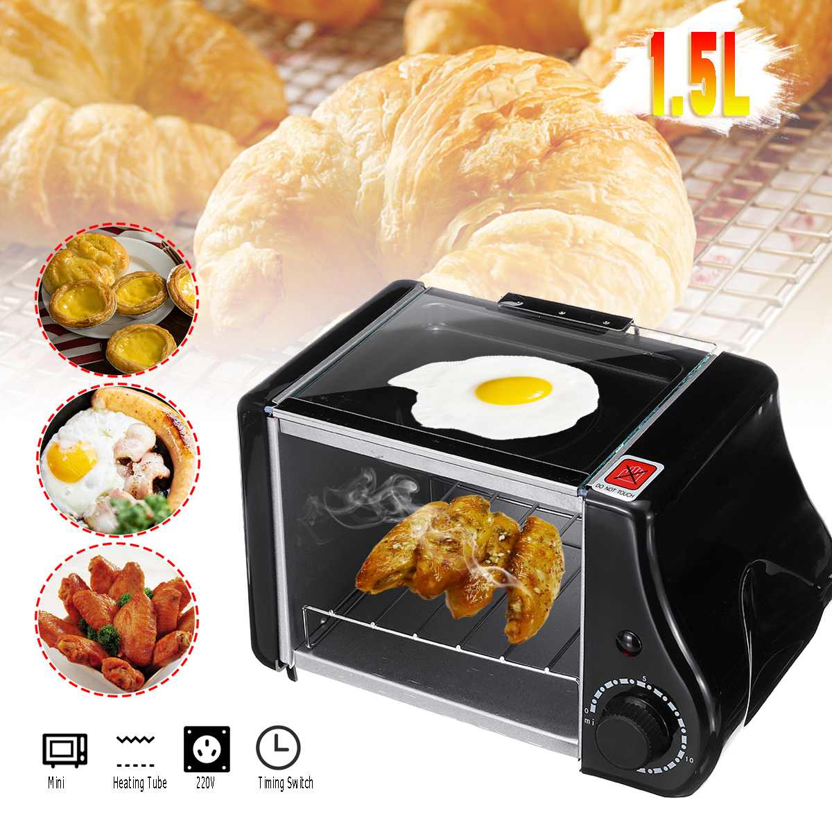 220 v/220W 2pcs Baking Pan 1.5L Mini Toaster Bread Electric Oven Baking Frying Pan Eggs Omelette Kitchen Pizzas Bread Fries Cake220 v/220W 2pcs Baking Pan 1.5L Mini Toaster Bread Electric Oven Baking Frying Pan Eggs Omelette Kitchen Pizzas Bread Fries Cake