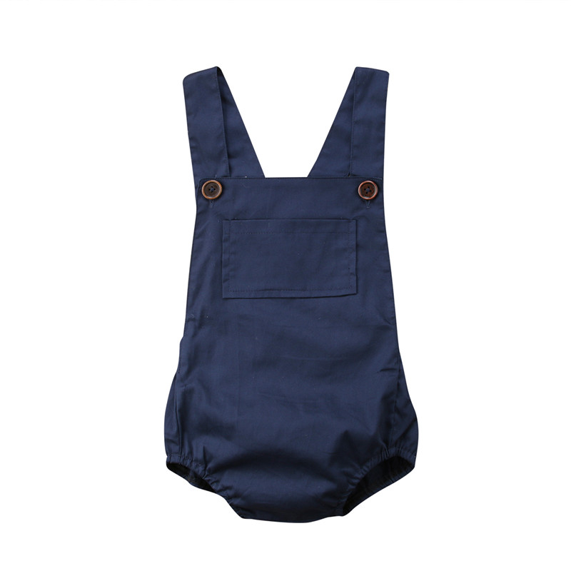 0-18M Newborn Baby Girls Sleeveless Blue Romper With Pocket Cotton New Summer Baby Boys Girls Casual Jumpsuit Overalls Outwear