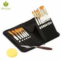 15 Uds pinceles de Nylon para el cabello juego de paleta de cuchillos con estuche de almacenamiento acuarelas acrílico pintura al óleo suministros de arte