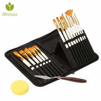 15PCS Nylon Hair Artist Paint Brushes Palette Knife Sponge Set with Storage Case Watercolors Acrylic Oil Painting Art supplies
