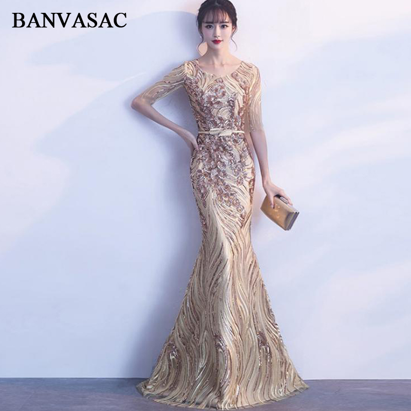 BANVASAC 2018 Sequined O Neck Mermaid Long Evening Dresses Lace Illusion Half Sleeve Metal Leaf Sash Party Prom Gowns