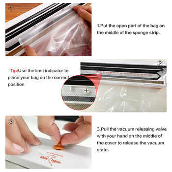 Food Vacuum Sealer Packaging Machine 110V 220V Film Sealer Vacuum Packer Saver Storage Rolls 15Pcs Bags Best Vacuum Food Sealer