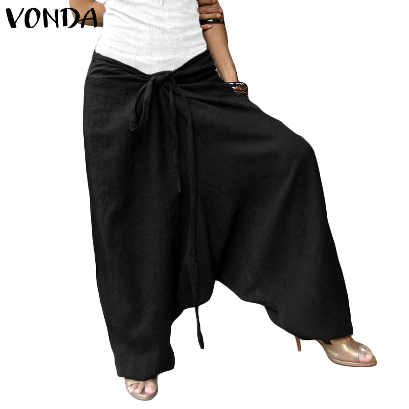 VONDA Fashion Women   Pants   2019 Spring Summer Vintage Cotton Casual Solid Loose Trousers Female Bottoms   Wide     Leg     Pants   Plus Size