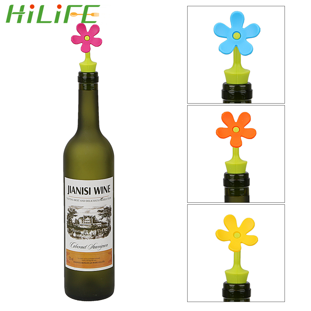 HILIFE 1 piece Wine Bottle Stopper Wine Stopper Barware for Wine Champagne Beverage Sunflower Shape Silicone