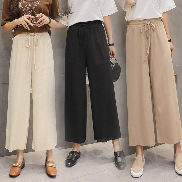 Women Summer Thin Knit Trousers Black Wide Leg Loose Pants Ankle Length Pants Casual trouser Elastic Waist 2